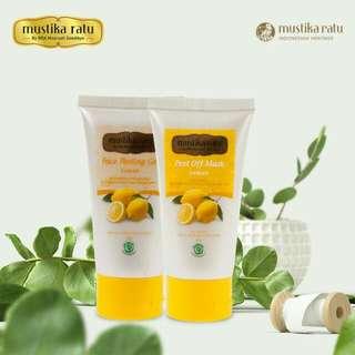 Face Peeling Gel & Peel Off Mask Lemon Mustika Ratu -- Masker Facial