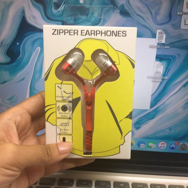 全新 拉鍊造型耳機