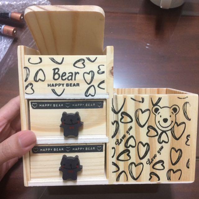 全新 現貨 木製小熊抽屜 筆筒組