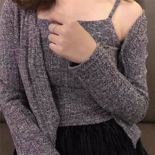 韓 針織坑條細肩背心+小外套 短版 兩件式 灰