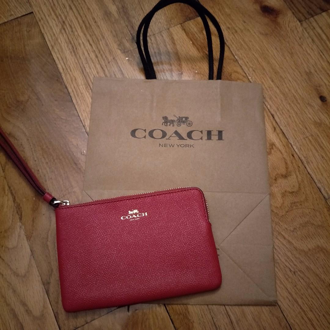 [現貨在台] Coach手拿包-桃紅色