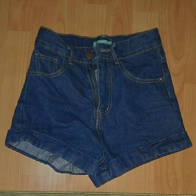 AA同款深藍色高腰短褲