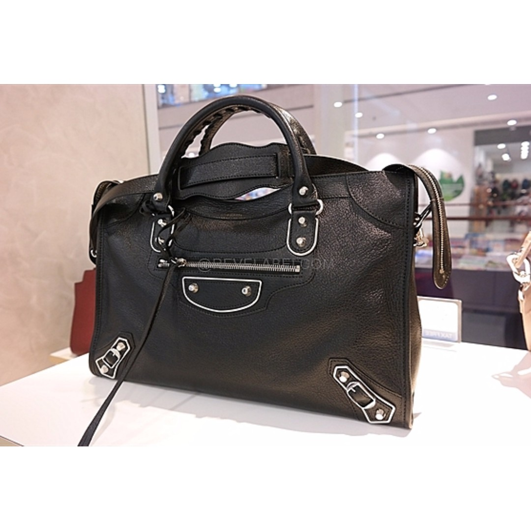 1450cda89b42 Balenciaga Classic Metallic Edge City Black Silver Hardware 390154 ...