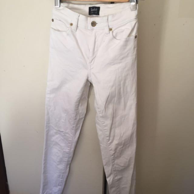BARDOT Mid-rise White Denim Jeans Size 6