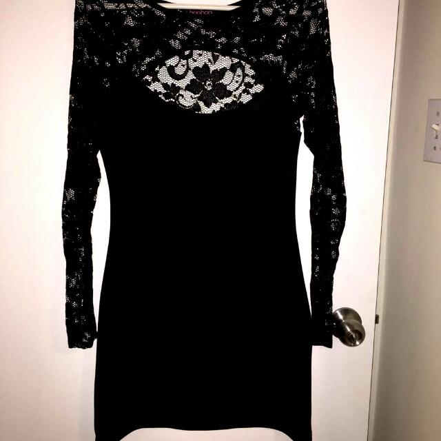 Black Body Con Dress With Lace Sleeves