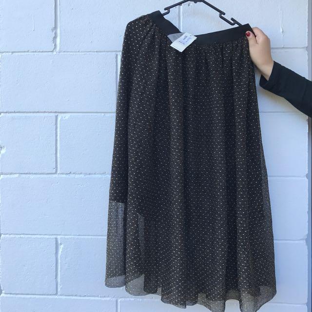 Black Midi Skater Skirt