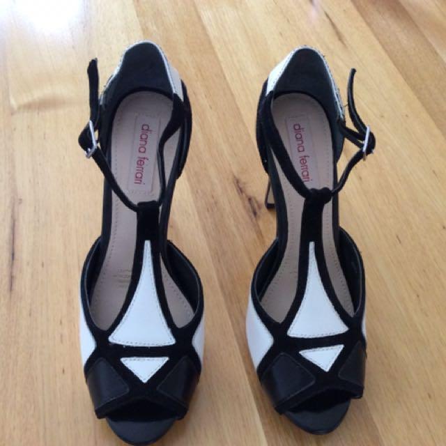 Black &White Diana Ferrari Heels