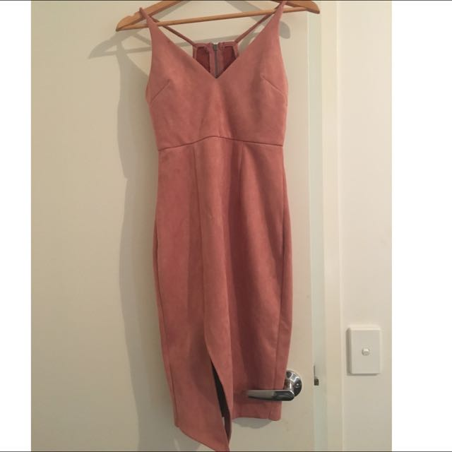 Boutique Dusty Pink Suede Midi Dress With Slit Size 10