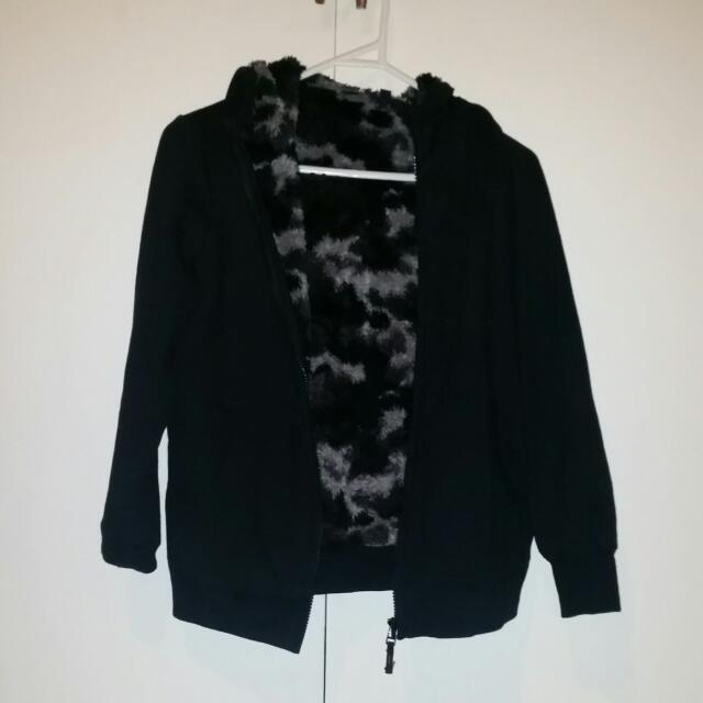 Boys Black Hoodie From Uniqlo With Fluffy Camo Print Lining
