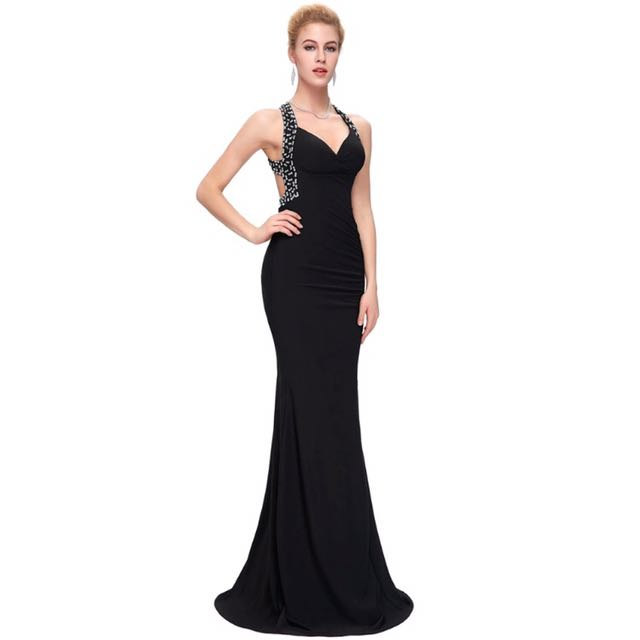 BN Black Open Back Prom Formal Dress