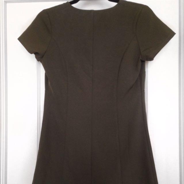 Olive Green V-Neck Dress