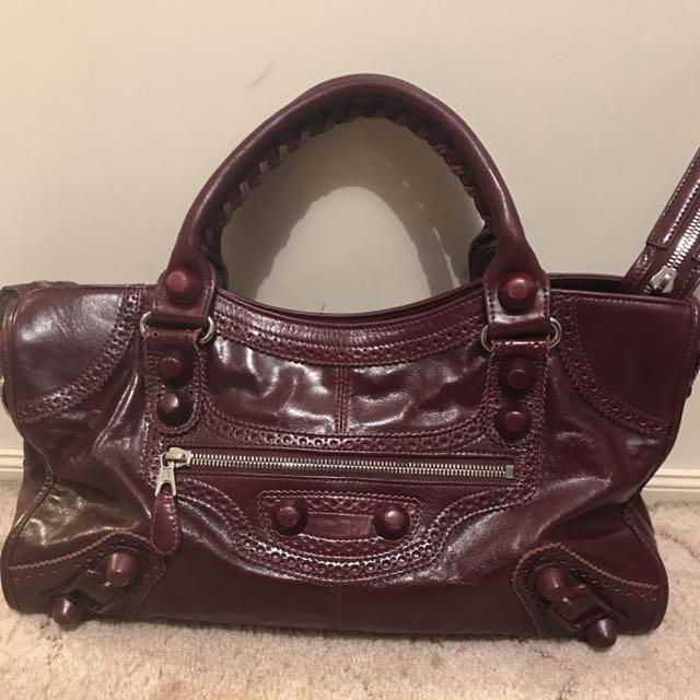 DIVINE Balenciaga Paris Maroon City Woven Handle Bag Handbag