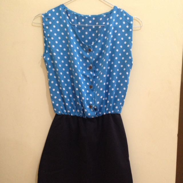 Dress Blue Polka