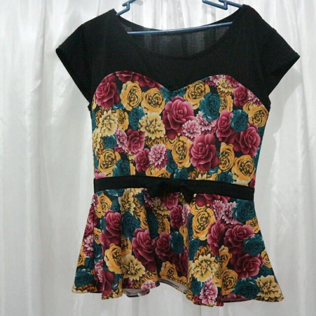 Floral Peplum Black Top
