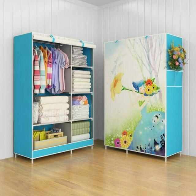 Flower Lemari pakaian Multifunction Wardrobe with cover rak pakaian