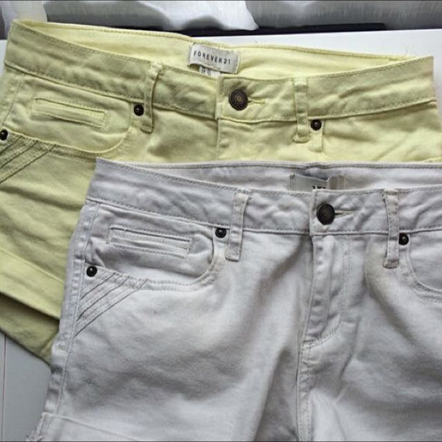 forever21 white yellow shorts