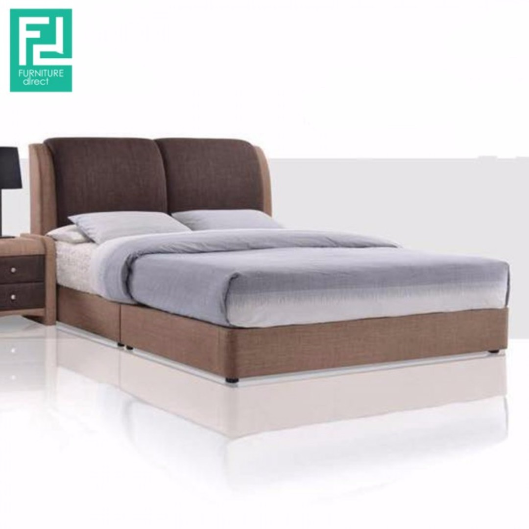 Furniture direct alster queen size pu divan bed frame for Queen size divan