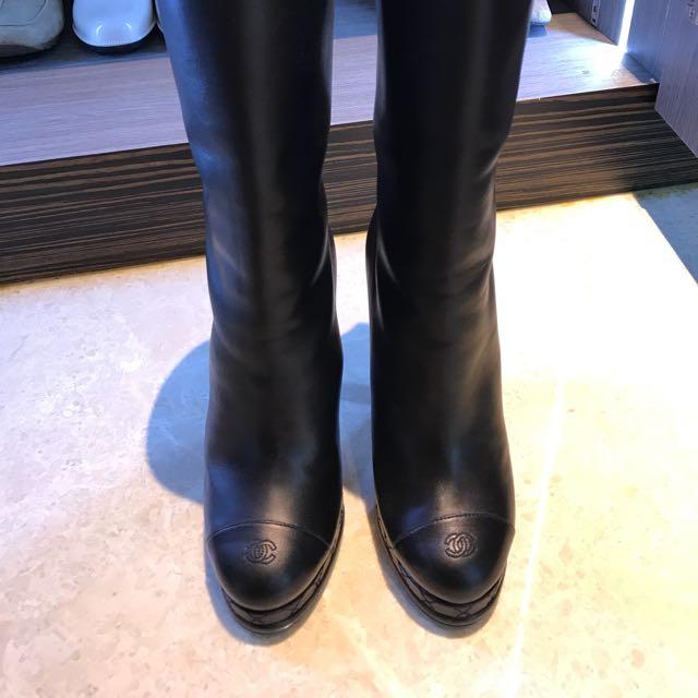 Genuine Chanel Mid Calf Boots, Women's