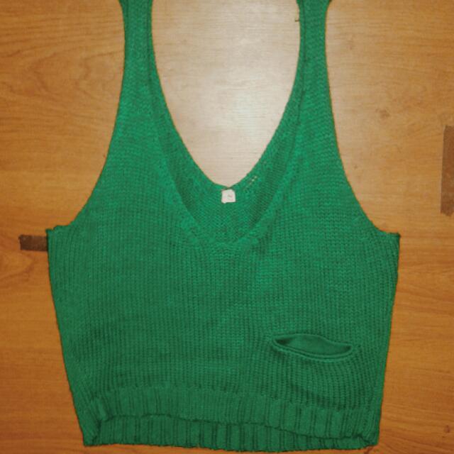 Green Crochet Shirt (Semi-crop top)