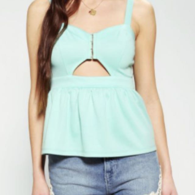 Green Peplum Tank Top