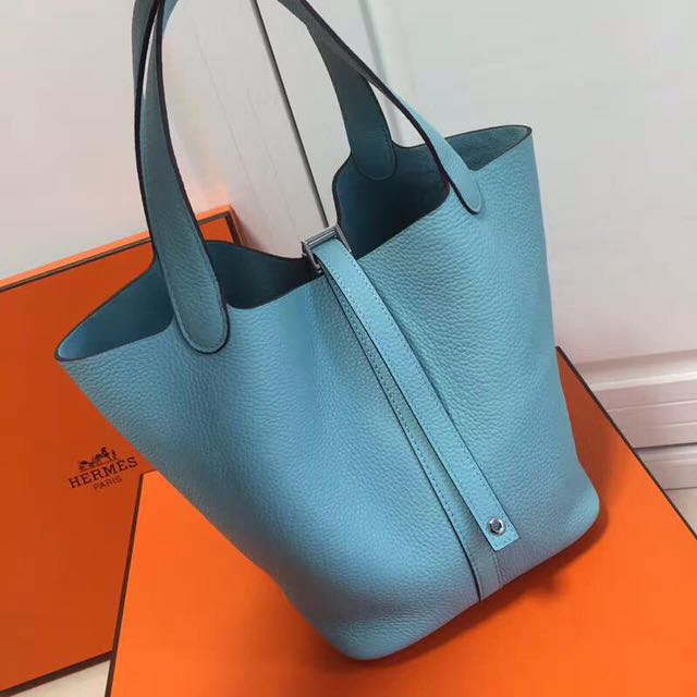 00c92b253f63 ... discount hermes picotin lock 22 tote bag togo leather skyblue womens  fashion bags wallets on carousell