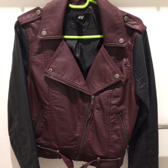 Hnm Leather Burgundy Jacket