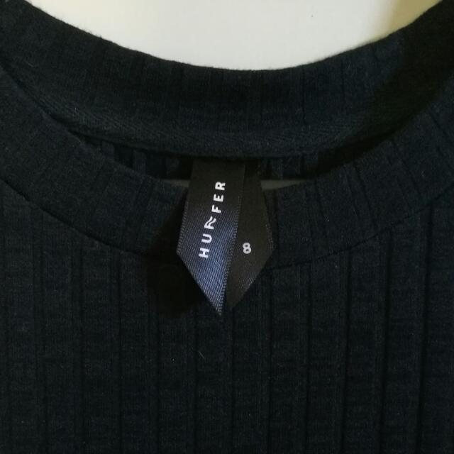 HUFFER CORD KNIT DRESS - Black, Size 8
