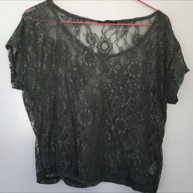Khaki Green Lace Top With Pocket