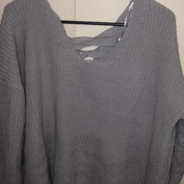 Oversized Laced Back Sweater