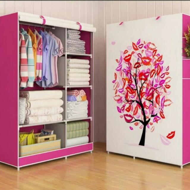 Lemari pakaian Multifunction Wardrobe with cover rak pakaian Motif Tree.