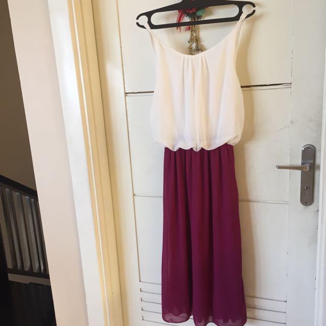 Long Dress White Purple