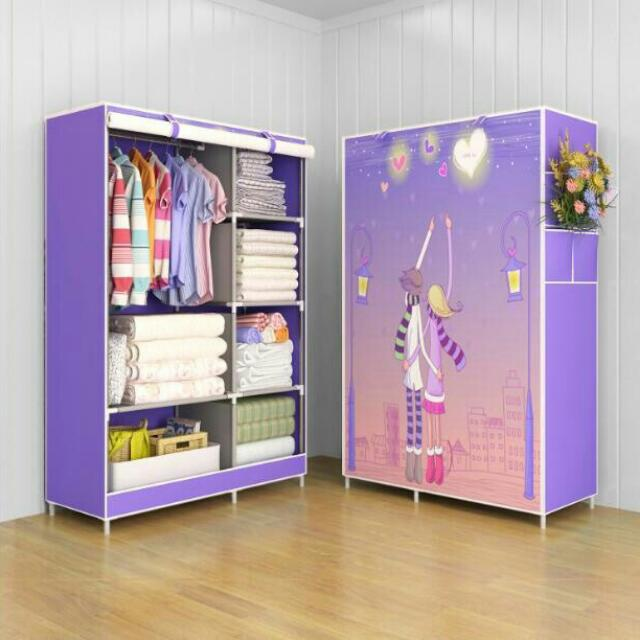 Love Lemari pakaian Multifunction Wardrobe with cover rak pakaian
