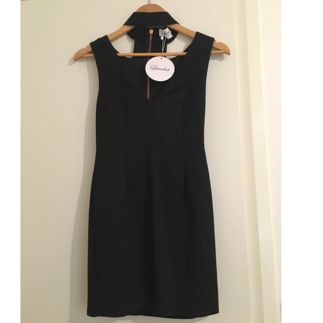 Luvalot Princess Prolly Boutique Choker Neck Bodycon Plunge Neckline Dress Size 8