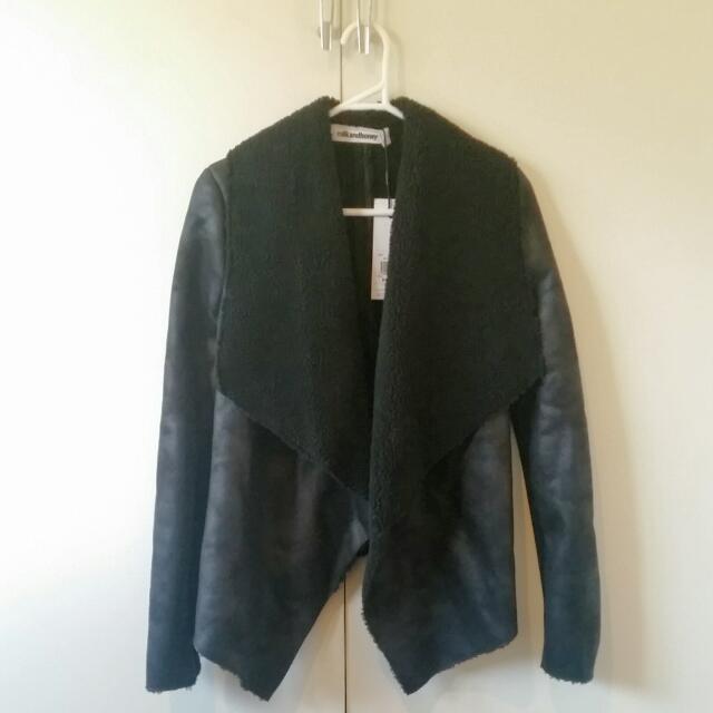 Milk And Honey Fake Leather And Sheepskin Jacket Size 8