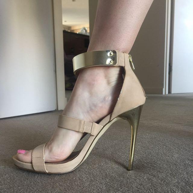 Miss Selfridge Gold Heeled/ Gold Belt Heel