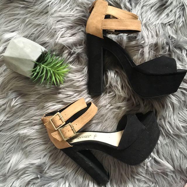 New Look Brown and Black Double Strap Platform Heels (7)