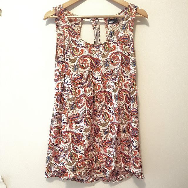 Paisley Open Back Dress