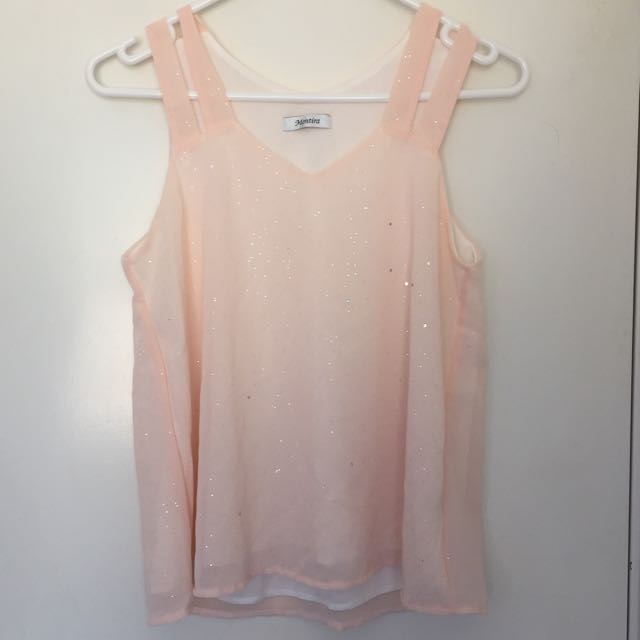 Pastel Pink Double Strap Glitter Top