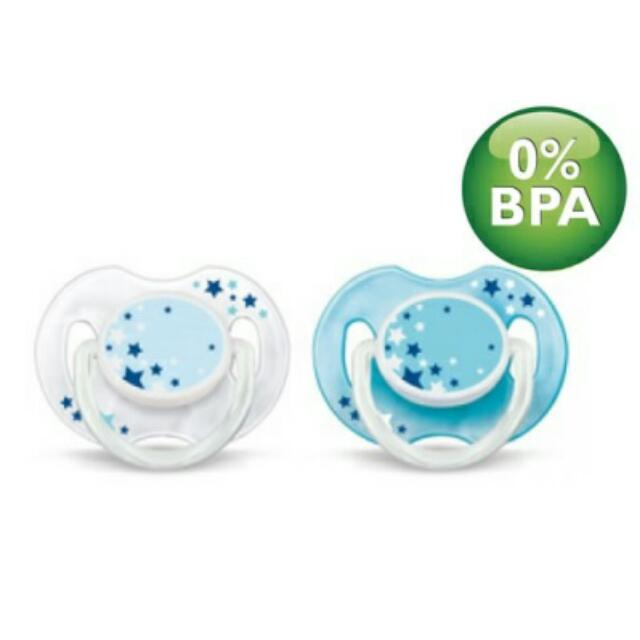 89f492801333 Philips Avent  Pacifier  Night Time Silicone Soothers 0-6M - 2pcs ...