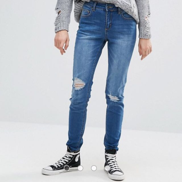 PIECES blue ripped jeans