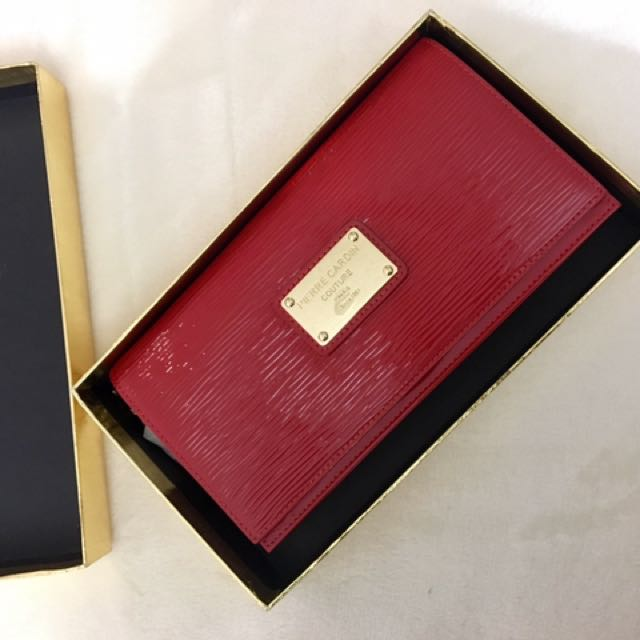 Pierre Cardin - red purse/clutch, gold strap, brand new, red bag