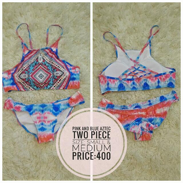 Pink & Blue Aztec Two Piece