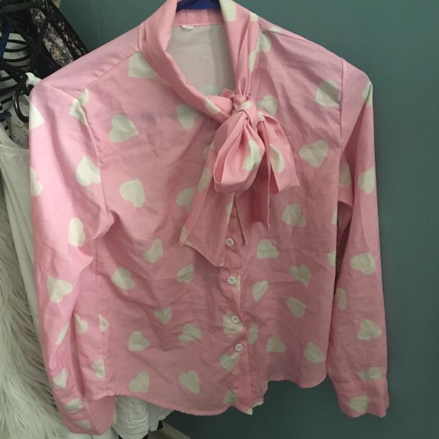 Pink Collared Tie Neck Blouse