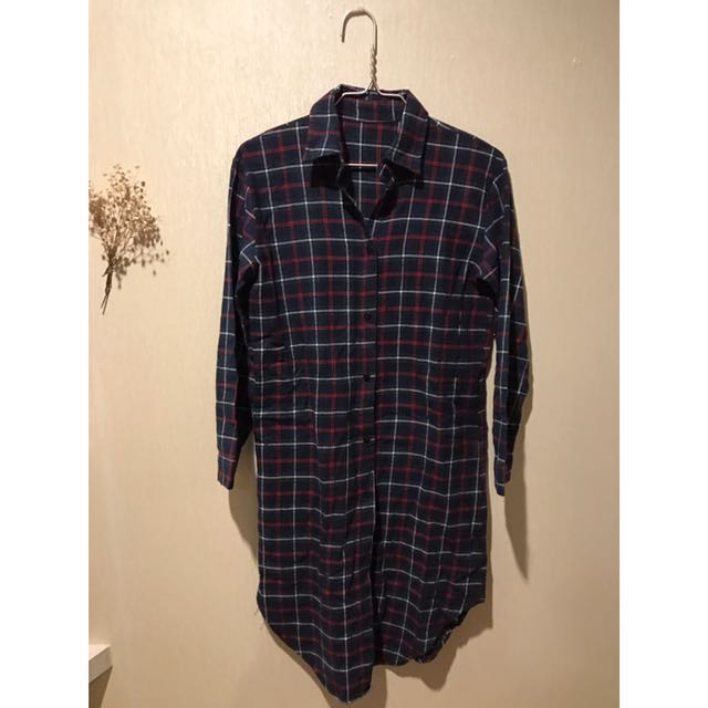 Plaid Tartan Flannel Shirt Panjang