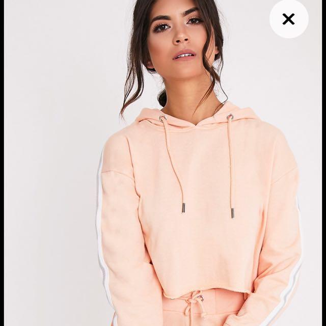 Pretty Little Thing Pink Cropped Hoodie Jumper Sweatshirt Vintage
