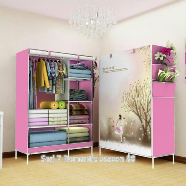 Romantic Season Lemari pakaian Multifunction Wardrobe with cover rak pakaian.