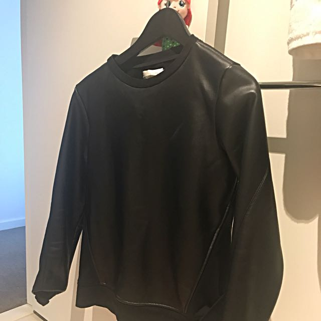 Sakuhachi Faux Leather Sweater