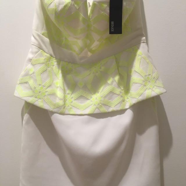 Seduce 'Citron' Strapless Peplum Dress
