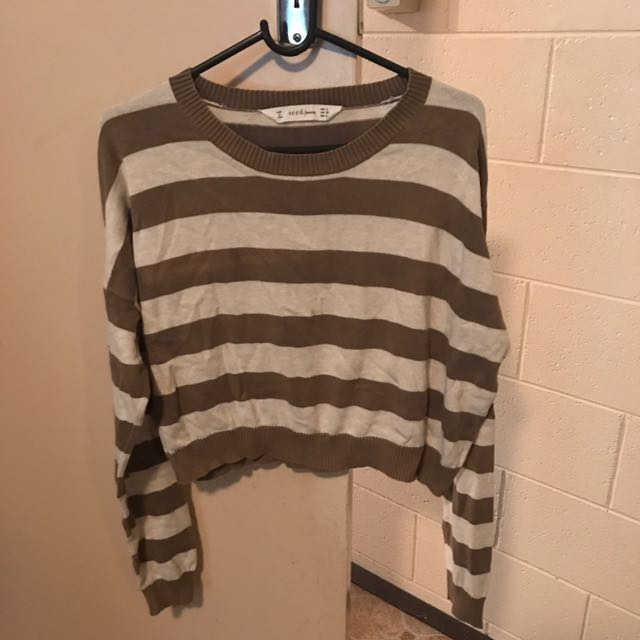 Seed Green And Beige Stripe Cropped Sweater Size M