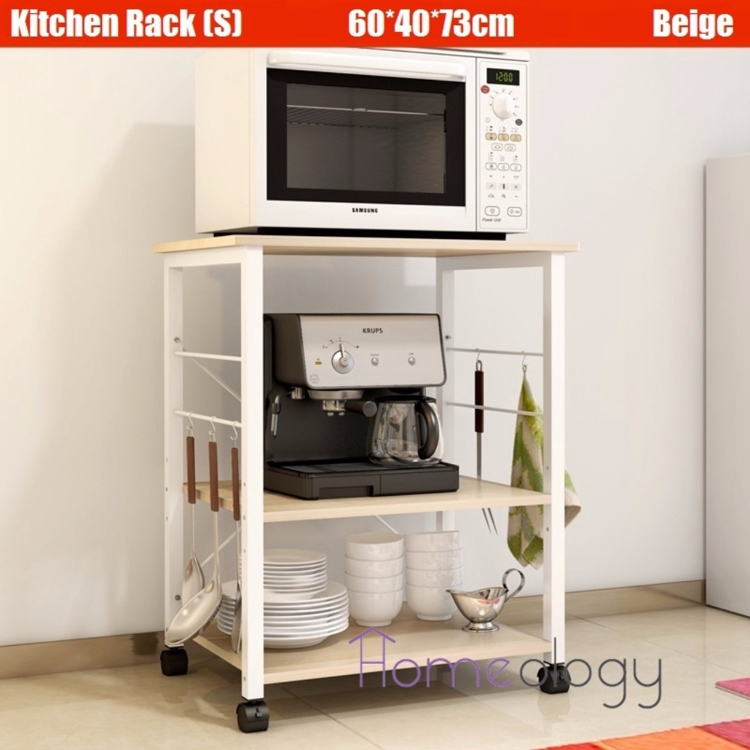 Small Kitchen Rack Storage Organizer Holder Adjule Shelf Movable Shelving Cabinet Microwave Oven Stand Wheel Trolley Cart Diy Household